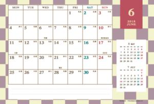 2018年6月 レトロモダンカレンダー(横1ヶ月/ポストカード)