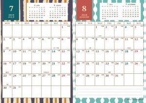 2018年7・8月|レトロモダンカレンダー(縦2ヶ月/A4)