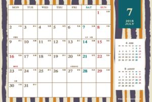 2018年7月|レトロモダンカレンダー(横1ヶ月/ポストカード)