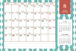 2018年8月 レトロモダンカレンダー(横1ヶ月/ポストカード)