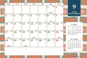 2018年9月|レトロモダンカレンダー(横1ヶ月/ポストカード)