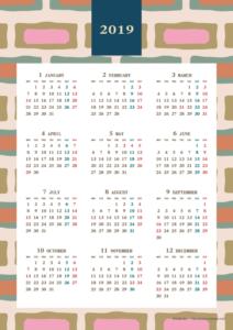 2019年レトロモダンカレンダー(年間・たて/A4)