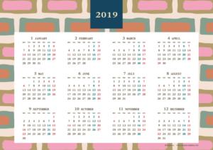 2019年レトロモダンカレンダー(年間・よこ/A4)