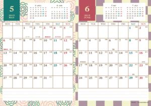 2019年5・6月 レトロモダンカレンダー(縦2ヶ月/A4)