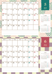 2019年5・6月 レトロモダンカレンダー(横2ヶ月/A4)