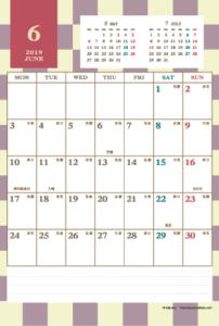2019年6月|レトロモダンカレンダー(縦1ヶ月/ポストカード)
