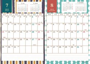 2019年7・8月 レトロモダンカレンダー(縦2ヶ月/A4)