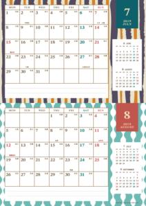 2019年7・8月 レトロモダンカレンダー(横2ヶ月/A4)