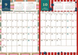 2019年9・10月 レトロモダンカレンダー(縦2ヶ月/A4)