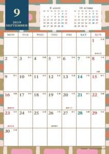 2019年9月|レトロモダンカレンダー(縦1ヶ月/A4)