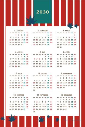 2020年レトロモダンカレンダー(年間・たて/ポストカード100×148mm)【無料ダウンロード】