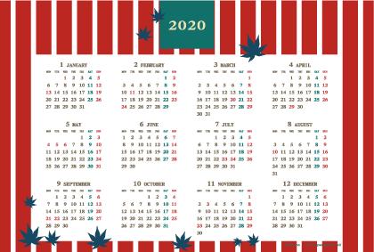 2020年レトロモダンカレンダー(年間・よこ/ポストカード148×100mm)【無料ダウンロード】