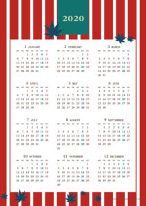 2020年レトロモダンカレンダー(年間・たて/A4)