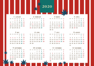2020年レトロモダンカレンダー(年間・よこ/A4)