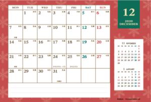 2020年12月|レトロモダンカレンダー(横1ヶ月/ポストカード)