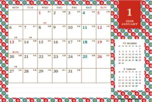 2020年1月|レトロモダンカレンダー(横1ヶ月/ポストカード)