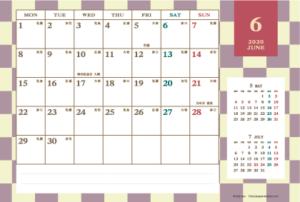 2020年6月|レトロモダンカレンダー(横1ヶ月/ポストカード)