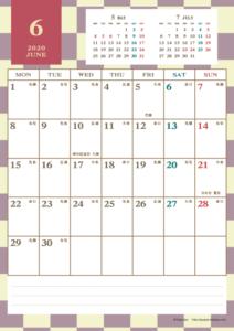 2020年6月|レトロモダンカレンダー(縦1ヶ月/A4)