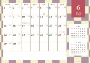 2020年6月|レトロモダンカレンダー(横1ヶ月/A4)