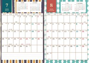 2020年7・8月|レトロモダンカレンダー(縦2ヶ月/A4)