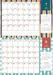 2020年7・8月|レトロモダンカレンダー(横2ヶ月/A4)