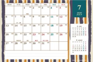 2020年7月|レトロモダンカレンダー(横1ヶ月/ポストカード)