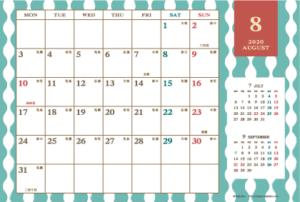2020年8月|レトロモダンカレンダー(横1ヶ月/ポストカード)