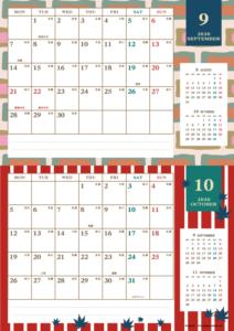2020年9・10月|レトロモダンカレンダー(横2ヶ月/A4)