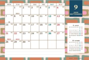 2020年9月|レトロモダンカレンダー(横1ヶ月/ポストカード)