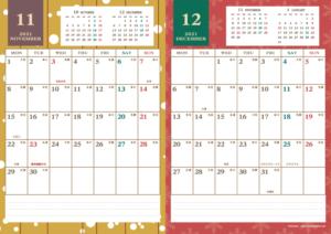 2021年11・12月|レトロモダンカレンダー(縦2ヶ月/A4)