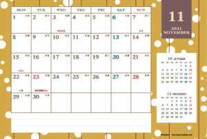 2021年11月|レトロモダンカレンダー(横1ヶ月/ポストカード)