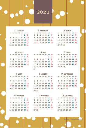 2021年レトロモダンカレンダー(年間・たて/ポストカード100×148mm)【無料ダウンロード】