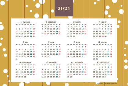 2021年レトロモダンカレンダー(年間・よこ/ポストカード148×100mm)【無料ダウンロード】