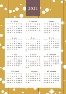 2021年レトロモダンカレンダー(年間・たて/A4)