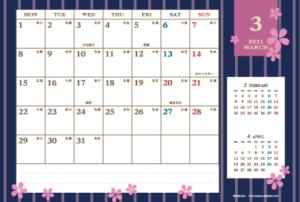 2021年3月|レトロモダンカレンダー(横1ヶ月/ポストカード)