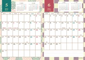 2021年5・6月|レトロモダンカレンダー(縦2ヶ月/A4)