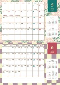 2021年5・6月|レトロモダンカレンダー(横2ヶ月/A4)