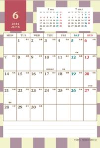 2021年6月 レトロモダンカレンダー(縦1ヶ月/ポストカード)
