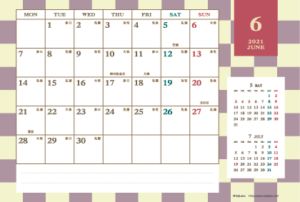 2021年6月|レトロモダンカレンダー(横1ヶ月/ポストカード)