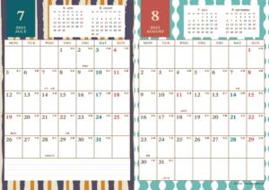 2021年7・8月|レトロモダンカレンダー(縦2ヶ月/A4)