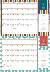 2021年7・8月|レトロモダンカレンダー(横2ヶ月/A4)