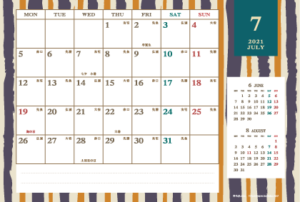 2021年7月|レトロモダンカレンダー(横1ヶ月/ポストカード)