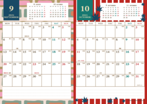 2021年9・10月|レトロモダンカレンダー(縦2ヶ月/A4)