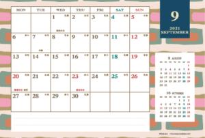 2021年9月|レトロモダンカレンダー(横1ヶ月/ポストカード)
