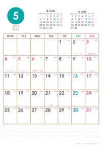 2015年5月|シンプルカレンダー(縦1ヶ月/ポストカード)