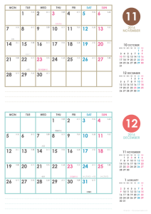 2016年11・12月|シンプルカレンダー(横2ヶ月/A4)