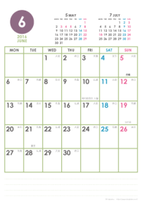 2016年6月|シンプルカレンダー(縦1ヶ月/ポストカード)