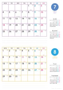 2016年7・8月|シンプルカレンダー(横2ヶ月/A4)