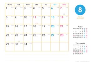 2016年8月|シンプルカレンダー(横1ヶ月/ポストカード)