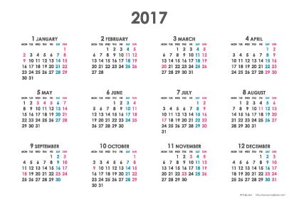 2017年シンプルカレンダー(年間・よこ/ポストカード148×100mm)【無料ダウンロード】